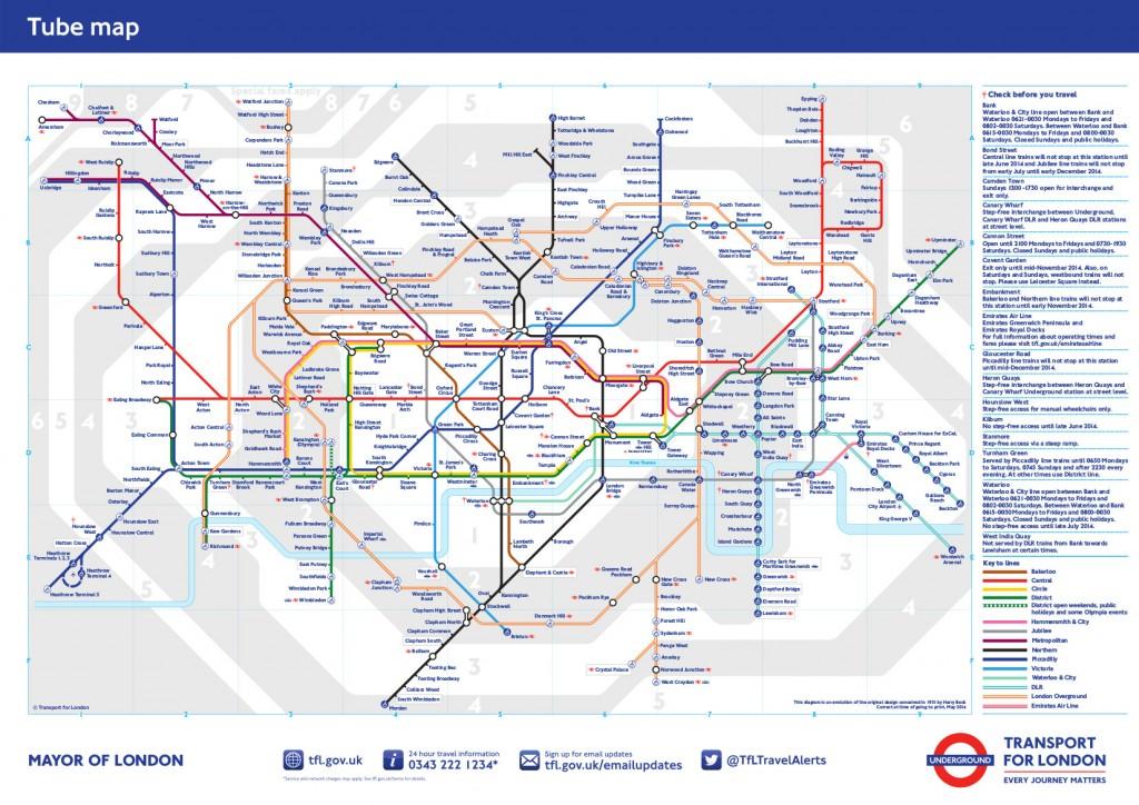 Mapa standard del metro de Londres